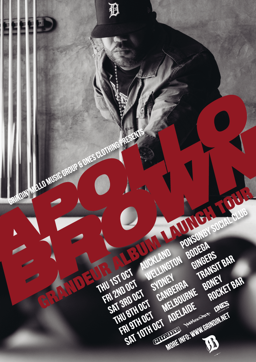 "APOLLO BROWN ""GRANDEUR"" AUSTRALIA / NEW ZEALAND ALBUM LAUNCH TOUR"